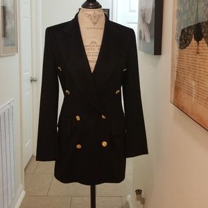 Escada Unworn Vintage Black Cashmere Blazer 6-8